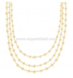 3 WIRE NECKLACE DEGRADE WITH STONES OF IVORY STONE IN SILVER GOLDEN TIT 925 ‰ CM 38-42-48