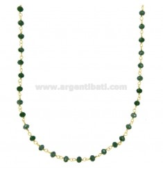 NECKLACE WITH GREEN STONES STONES faceted in SILVER GOLDEN TIT 925 ‰ CM 38-43