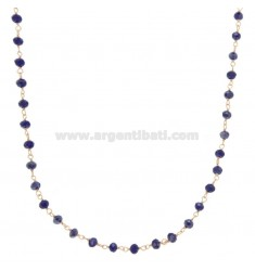 NECKLACE WITH STONES OF BLUE STONE IN SILVER GOLDEN TIT 925 ‰ CM 38-43