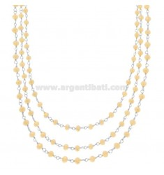 3 WIRE NECKLACE DEGRADE WITH STONES OF IVORY STONE IN SILVER RHODIUM TIT 925 ‰ CM 38-42-48