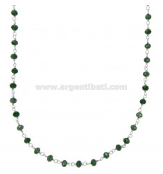 NECKLACE WITH GREEN STONES STONES faceted SILVER RHODIUM TIT 925 ‰ CM 38-43