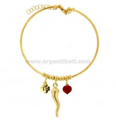 RIGID WIRE BRACELET WITH HORN, HEART AND QUADRIFOGLIO PENDANT IN SILVER GOLDEN TIT 925 ‰ AND ENAMEL