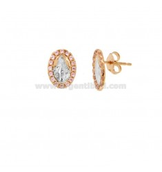 LOBO EARRINGS MIRACULOUS MADONNA SILVER ROSE AND RHODIUM TIT 925 ‰ AND PINK ZIRCONIA