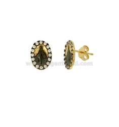 EARRINGS LOBO MIRACULOUS IN SILVER PLATED RUTENIO AND GOLDEN YELLOW TIT 925 ‰ AND ZIRCONIA