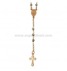 ROSARY NECKLACE WITH SILVER STONES FACETED IN SILVER ROSE TIT 925 CM 58