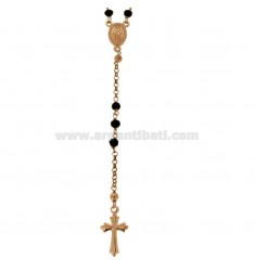 ROSARY NECKLACE WITH BLACK STONES FACETED IN SILVER ROSE TIT 925 CM 58