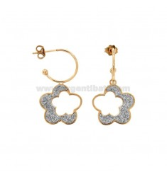 EARRINGS A CIRCLE 15 MM WITH FLOWER SHAPE SILVER ROSE TIT 925 AND SILVER GLITTER