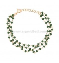 3-WIRE BRACELET WITH GREEN STONES STONES faceted SILVER ROSE TIT 925 ‰ CM 17-22