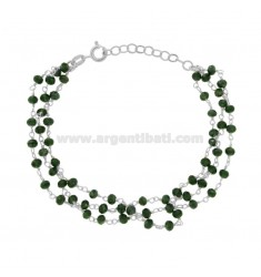 3-WIRE BRACELET WITH GREEN STONES STONES IN SILVER RHODIUM TIT 925 ‰ CM 17-22
