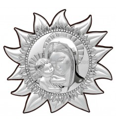 ICONA SOLE MADONNA CON BAMBINO CM 35.5X33 ARG.