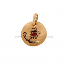 PENDANT 18 MM ROUND KITTEN COCCOLAMI SILVER ROSE TIT 925 ENAMEL AND ZIRCON