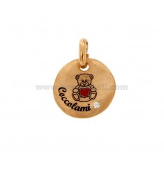 PENDANT 18 MM ROUND CUSHION BEARS IN SILVER ROSE TIT 925 ENAMEL AND ZIRCON