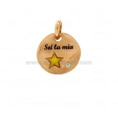 PENDANT 18 MM ROUND SIX MY STAR IN SILVER ROSE TIT 925 ENAMEL AND ZIRCON