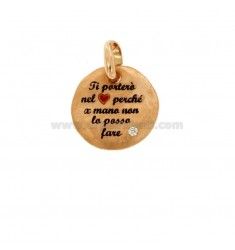 PENDANT 18 MM ROUND I WILL HELD YOU IN THE HEART BECAUSE FOR HAND I CAN NOT DO IN SILVER ROSE TIT 925 ENAMEL AND ZIRCON
