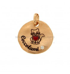 PENDANT ROUND 24 MM KITTEN CUDDLES IN SILVER ROSE TIT 925 ENAMEL AND ZIRCON