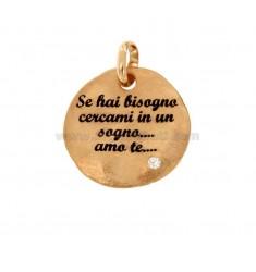ANHÄNGER 24 MM RUND Wenn Sie in einen Traum schauen müssen, liebe ich Sie in Silber Rose TIT 925 EMAIL und ZIRCON