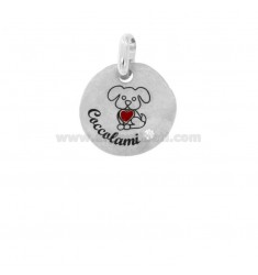 PENDANT 18 MM ROUND CUSHION CUSHIONS IN SILVER RHODIUM TIT 925 ENAMEL AND ZIRCON