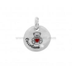 PENDANT 18 MM ROUND CUSHION BEARS IN SILVER RHODIUM TIT 925 ENAMEL AND ZIRCON