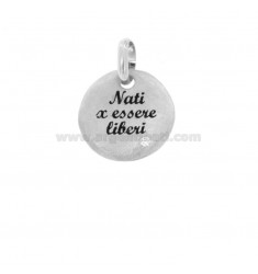 PENDANT 18 MM ROUND BORN TO BE FREE IN SILVER RHODIUM TIT 925 ENAMEL AND ZIRCON