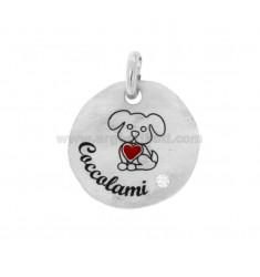 PENDANT ROUND 24 MM CAGNOLINO COCCOLAMI SILVER RHODIUM TIT 925 ENAMEL AND ZIRCON