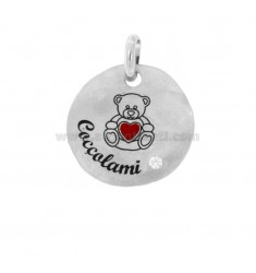 PENDANT ROUND 24 MM BEARING CUDDLES IN SILVER RHODIUM TIT 925 ENAMEL AND ZIRCON