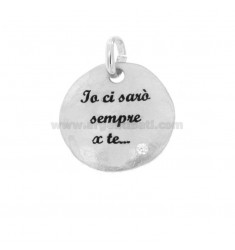 PENDANT ROUND 24 MM I WILL BE 'ALWAYS FOR YOU IN SILVER RHODIUM TIT 925 ENAMEL AND ZIRCON