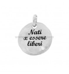 PENDANT 24 MM ROUND BORN TO BE FREE IN SILVER RHODIUM TIT 925 ENAMEL AND ZIRCON