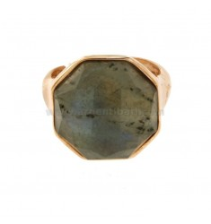 OCTAGONAL RING WITH NATURAL STONE LABRADORITE SILVER ROSE TIT 925 SIZE ADJUSTABLE