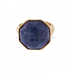 OCTAGONAL RING WITH NATURAL STONE SODALITE SILVER ROSE TIT 925 SIZE ADJUSTABLE