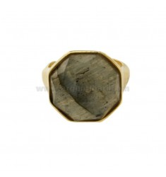 OCTAGONAL RING WITH NATURAL STONE LABRADORITE IN SILVER GOLDEN TIT 925 ADJUSTABLE SIZE