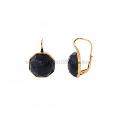 EARRINGS MONACHELLA OCTAGONAL WITH NATURAL STONE SODALITE SILVER ROSE TIT 925