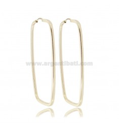 RECTANGULAR EARRINGS MM 55X28 SQUARE BARREL IN SILVER GOLDEN TIT 925 ‰