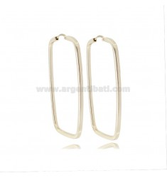 RECTANGULAR EARRINGS MM 42X25 SQUARE BARREL IN SILVER GOLDEN TIT 925 ‰
