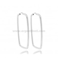 RECTANGULAR EARRINGS MM 42X25 SQUARE BARREL SILVER RHODIUM TIT 925 ‰