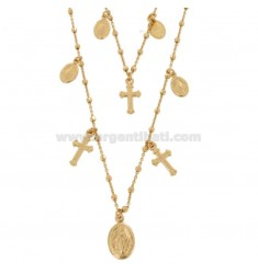 CHAIN \u200b\u200bCABLE WITH 2-WIRE CUBES WITH CROSSES AND MADONNINE PENDANTS IN SILVER ROSE TIT 925 ‰ CM 50