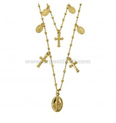 CHAIN \u200b\u200bCABLE WITH 2-WIRE CUBES WITH CROSSES AND MADONNINE PENDANTS IN SILVER GOLDEN TIT 925 ‰ CM 50