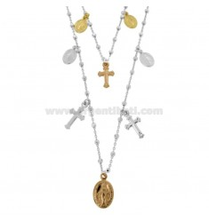 CHAIN \u200b\u200bCABLE WITH 2-WIRE CUBES WITH CROSSES AND MADONNINE PENDING IN SILVER TRICOLOR TIT 925 ‰ CM 50