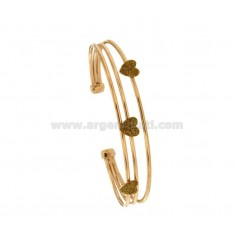 RIGID BRACELET WITH 3 CENTRAL HEARTS IN SILVER ROSE TIT 925 ‰ AND GLITTER GOLD ENAMEL