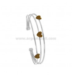 RIGID BRACELET WITH 3 CENTRAL HEARTS IN SILVER RHODIUM TIT 925 ‰ AND GLITTER GOLD ENAMEL
