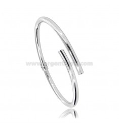 CONTRARIE ARMBAND IN RUNDEM FASS 4 MM IN SILBER RHODIUM TIT 925