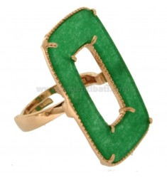 RECTANGLE RING IN SILVER ROSE TIT 925 AND GREEN STONE, SIZE ADJUSTABLE