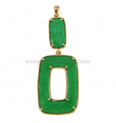 PENDANT DOUBLE RECTANGLE SILVER ROSE TIT 925 AND STONE GREEN HARD