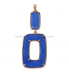 PENDANT DOUBLE RECTANGLE SILVER ROSE TIT 925 AND STONE DURA BLU