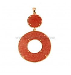 PENDANT DOUBLE ROUND SILVER ROSE TIT 925 AND STRAIGHT ORANGE STONE