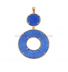 COLGANTE DOBLE REDONDO EN PLATA ROSA TIT 925 Y DURA BLUE STONE
