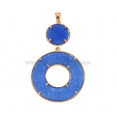DOUBLE ROUND PENDANT IN SILVER ROSE TIT 925 AND DURA BLUE STONE
