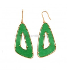 MONACHELLA EARRINGS WITH TRIANGLE SILVER ROSE TIT 925 AND GREEN HARD STONE
