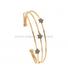 RIGID BRACELET WITH 3 CENTRAL STARS IN SILVER ROSE TIT 925 ‰ AND SMALTO GRIGIO GLITTER