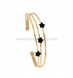 RIGID BRACELET WITH 3 CENTRAL STARS IN SILVER ROSE TIT 925 ‰ AND BLACK GLITTER ENAMEL