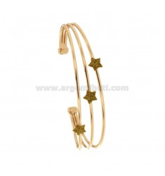 RIGID BRACELET WITH 3 CENTRAL STARS IN SILVER ROSE TIT 925 ‰ AND GLITTER GOLD ENAMEL